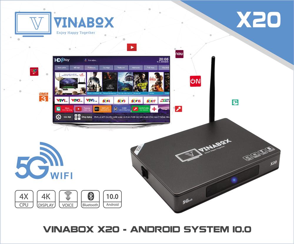 VINABOX X20 - RAM 2GB, MẪU VINABOX MỚI NHẤT NĂM 2020 ANDROID 10 SIÊU MƯỢT - Hàng chính hãng