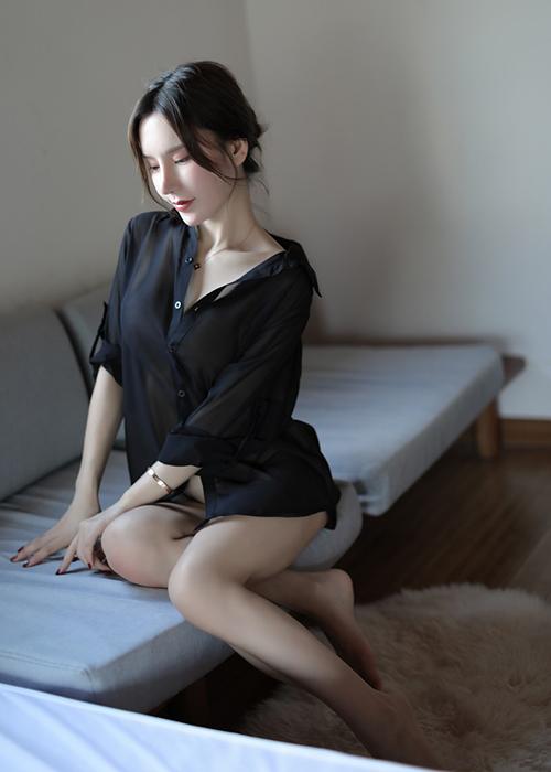 Áo sơ mi nữ kèm vải voan mỏng tay dài CDAN72