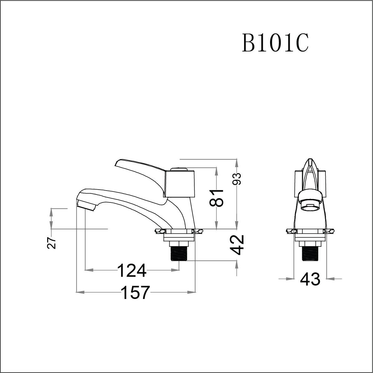 Vòi lavabo lạnh tay gạt Caesar B101C (chưa bao gồm bộ xả và dây cấp nước)