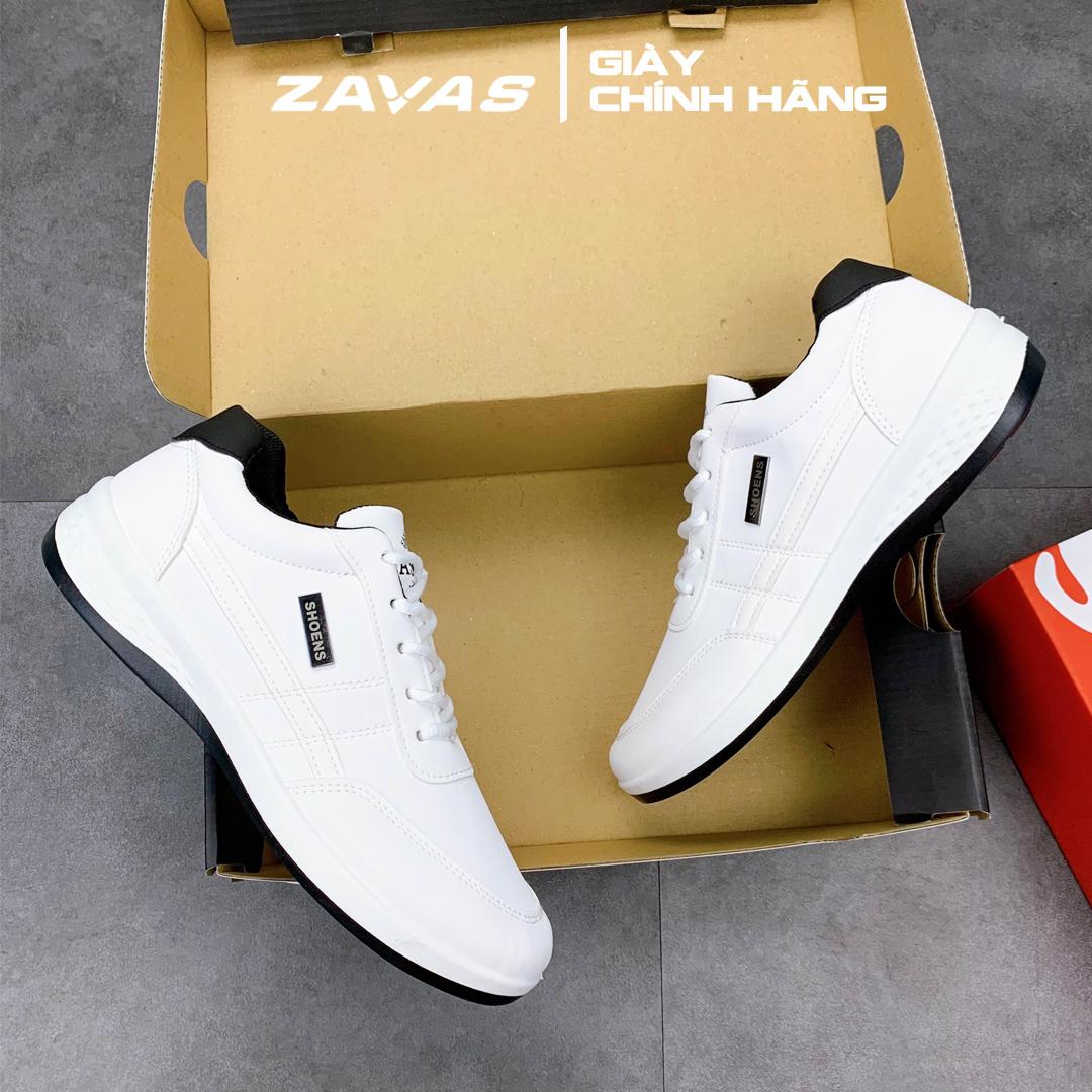 Giày thể thao nam màu trắng bằng da, from gọn thương hiệu ZAVAS - S414 - Hàng chính hãng
