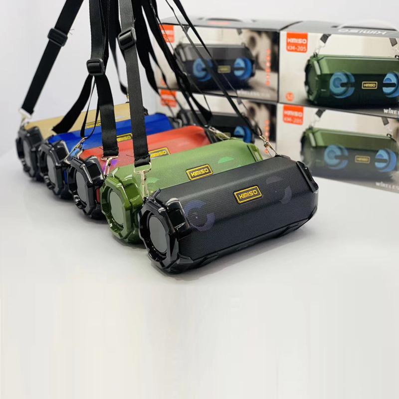 Loa bluetooth KIMISO KM-205 TWS kết nối cùng lúc 2 loa - có đèn led và dây đeo (màu ngẫu nhiên) HÀNG NHẬP KHẨU