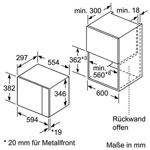 Lò Vi Sóng Âm Tủ Bosch BFL524MB0 (20 Lít) - Hàng Chính hãng