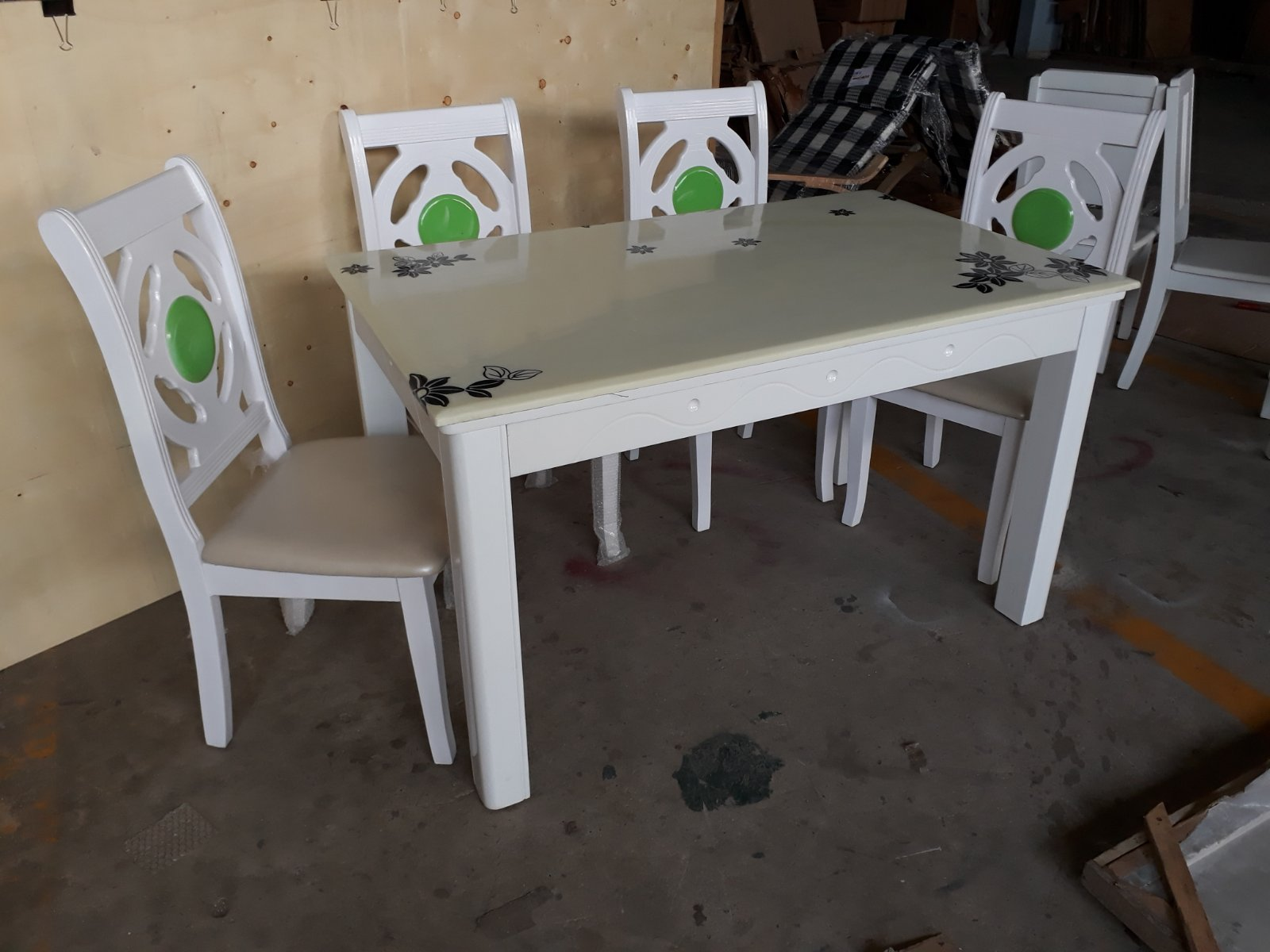 Bộ bàn ăn mặt đá ghế nệm nhập khẩu cao cấp 1M4