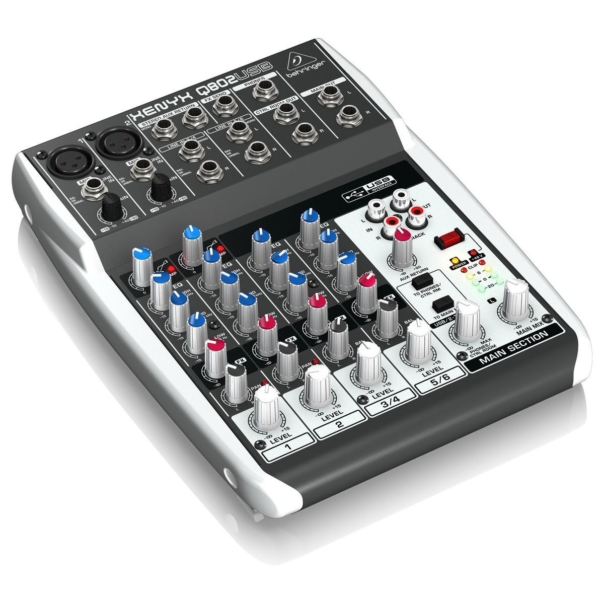 Mixer thu âm 8 cổng vào Behringer XENYX Q802USB - Hàng nhập khẩu