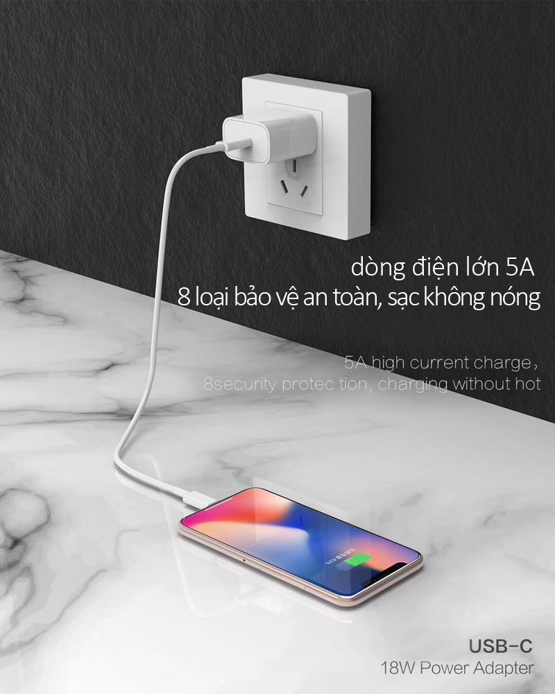 Bộ cốc sạc kèm theo dây sạc dẹt Lightning hỗ trợ sạc nhanh 18W dành cho các dòng máy iPhone cao cấp NO6-IP