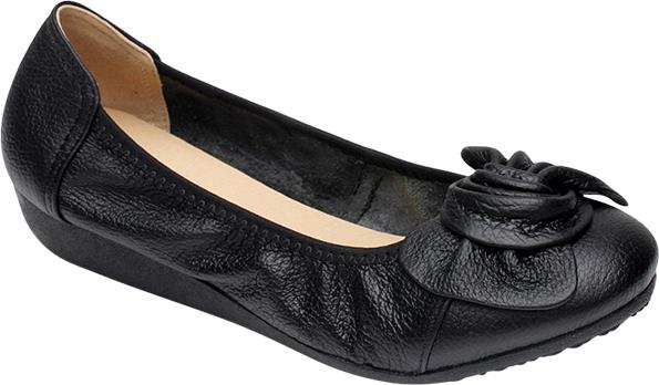 Giày Da Cao Cấp Búp Bê Đính Nơ - Đen Size 38