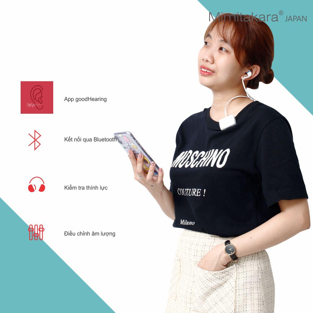Máy trợ thính 2 tai nghe, bluetooth, pin sạc, ứng dụng smartphone Mimitakara (JAPAN) UP-6E52