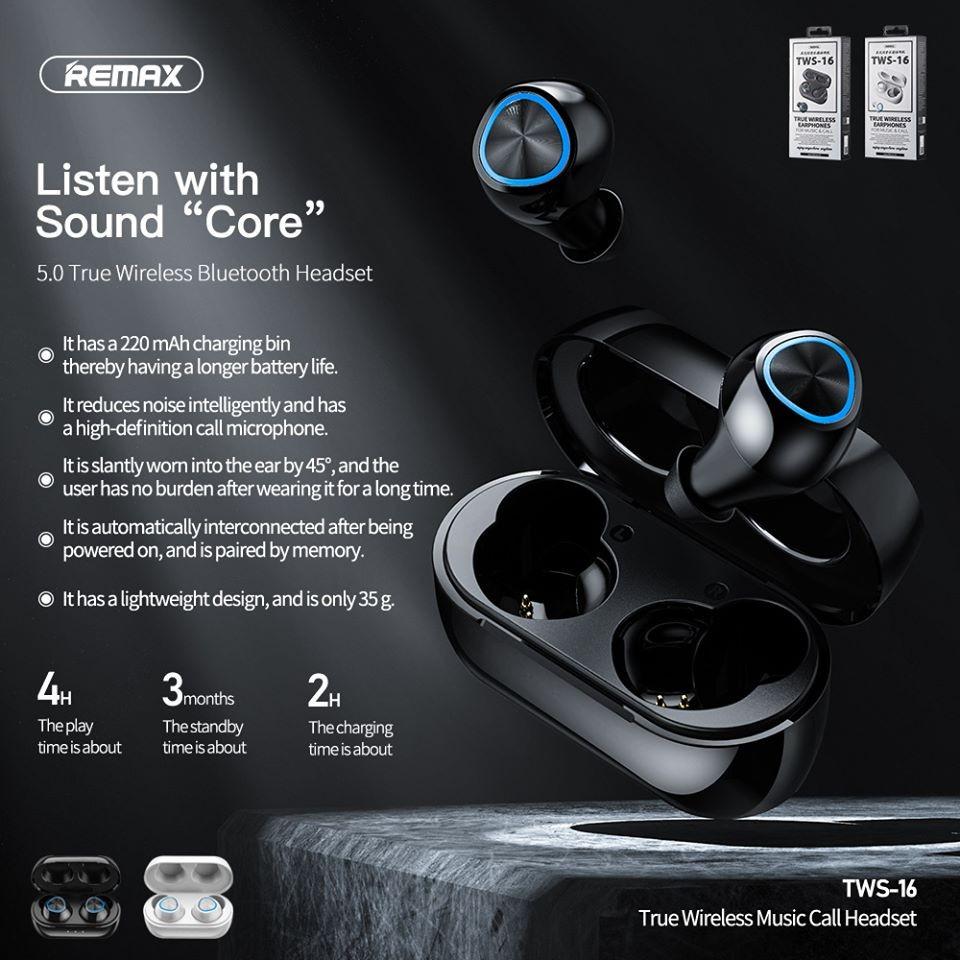 Tai nghe Bluetooth Remax TWS-16 Nhỏ Gọn, Tinh Tế, Âm Thanh Vòm Chân Thực - Hàng chính hãng