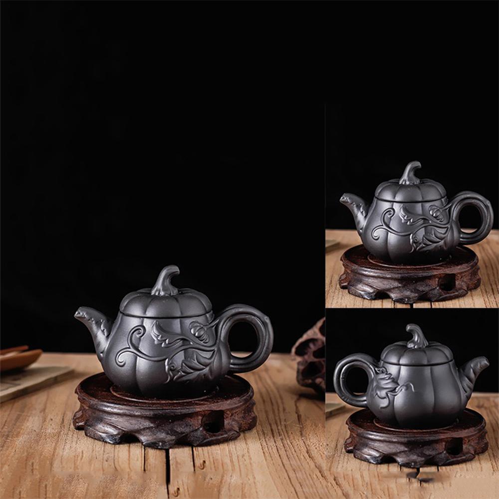 Ấm trà tử sa Nghi Hưng họa tiết dáng bí đỏ phụ kiện bàn trà trà đạo