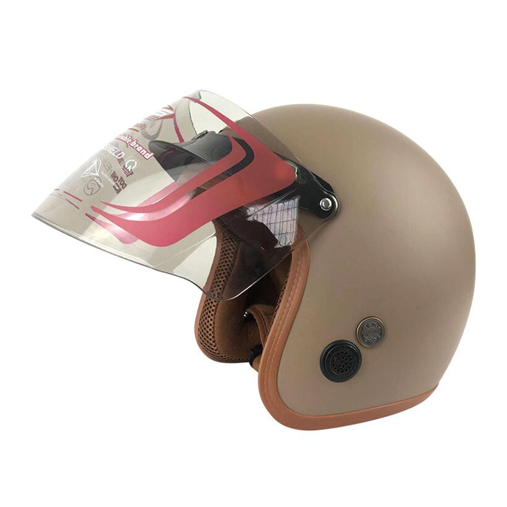 Mũ Bảo Hiểm Đẹp 3/4 lót màu Nâu lót nâu N033 có kính _ Nón bảo hiểm phượt có kính chắn gió, chống bụi_ Kèm kính màu ngẫu nhiên