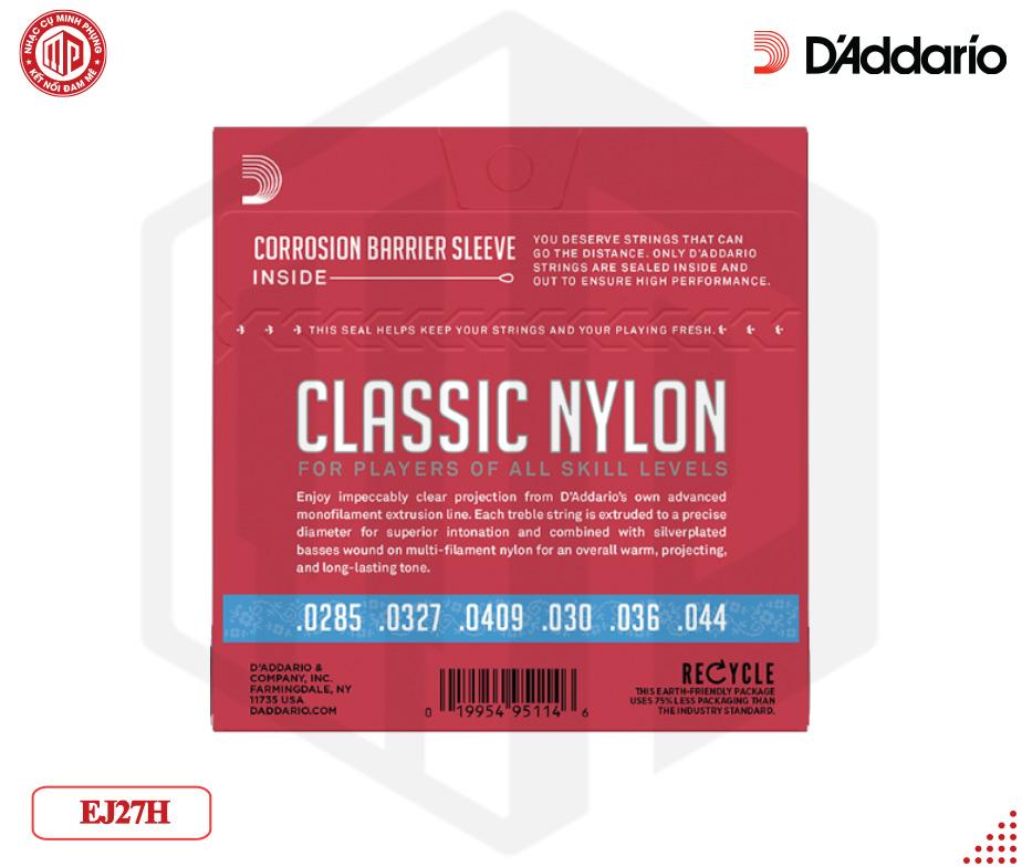 Bộ dây đàn Guitar D'Addario EJ27H Student Nylon Classical Guitar Strings, Hard Tension, Clear/Silverplated Wound — D01-EJ27H - Hàng chính hãng