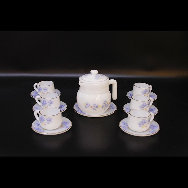 Bộ ấm trà Thủy tinh ngọc Mp USA Homeset P3066OPLGP hoa xanh