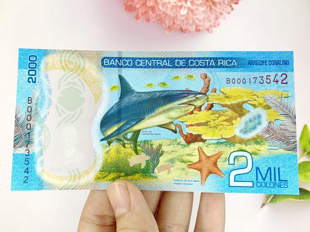 Tiền 2000 Colones của Costa Rica ở Nam Mỹ, tiền Polyme , tặng phơi nylon bảo quản tiền