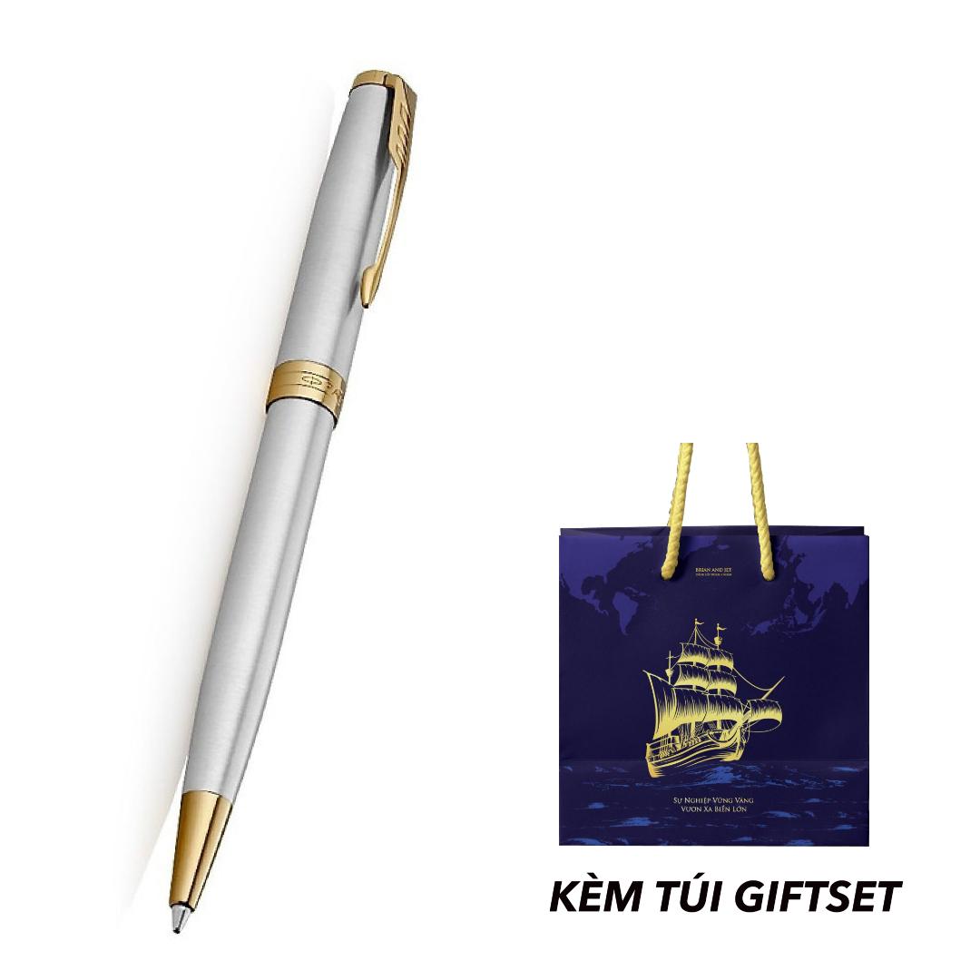 B&J - Bút Bi Chính Hãng Parker Sonnet Stainless Steel Kèm Túi Giftset B&J Cao Cấp Dành Cho Doanh Nhân, Khẳng Định Đẳng Cấp Cá Nhân