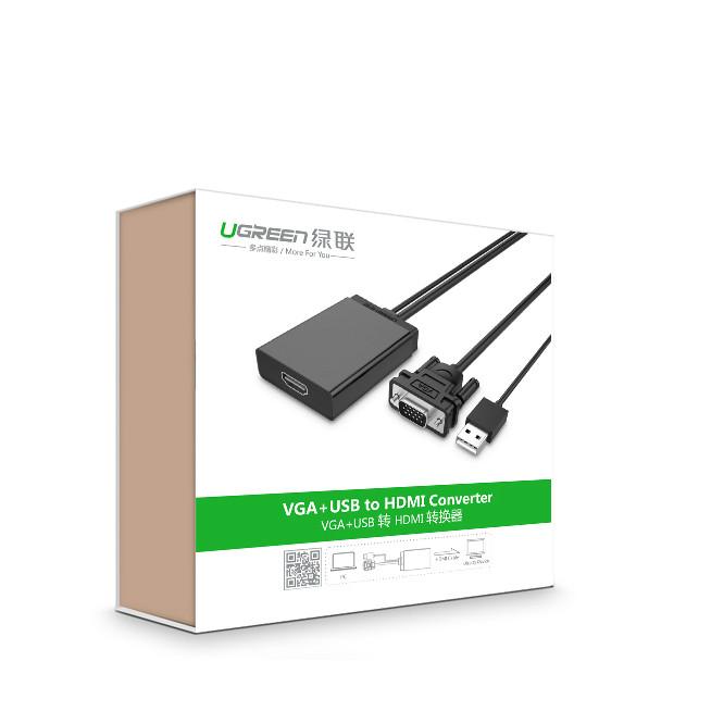 Cáp chuyển VGA to HDMI tích hợp Audio Ugreen UG-40213 - Hàng chính hãng