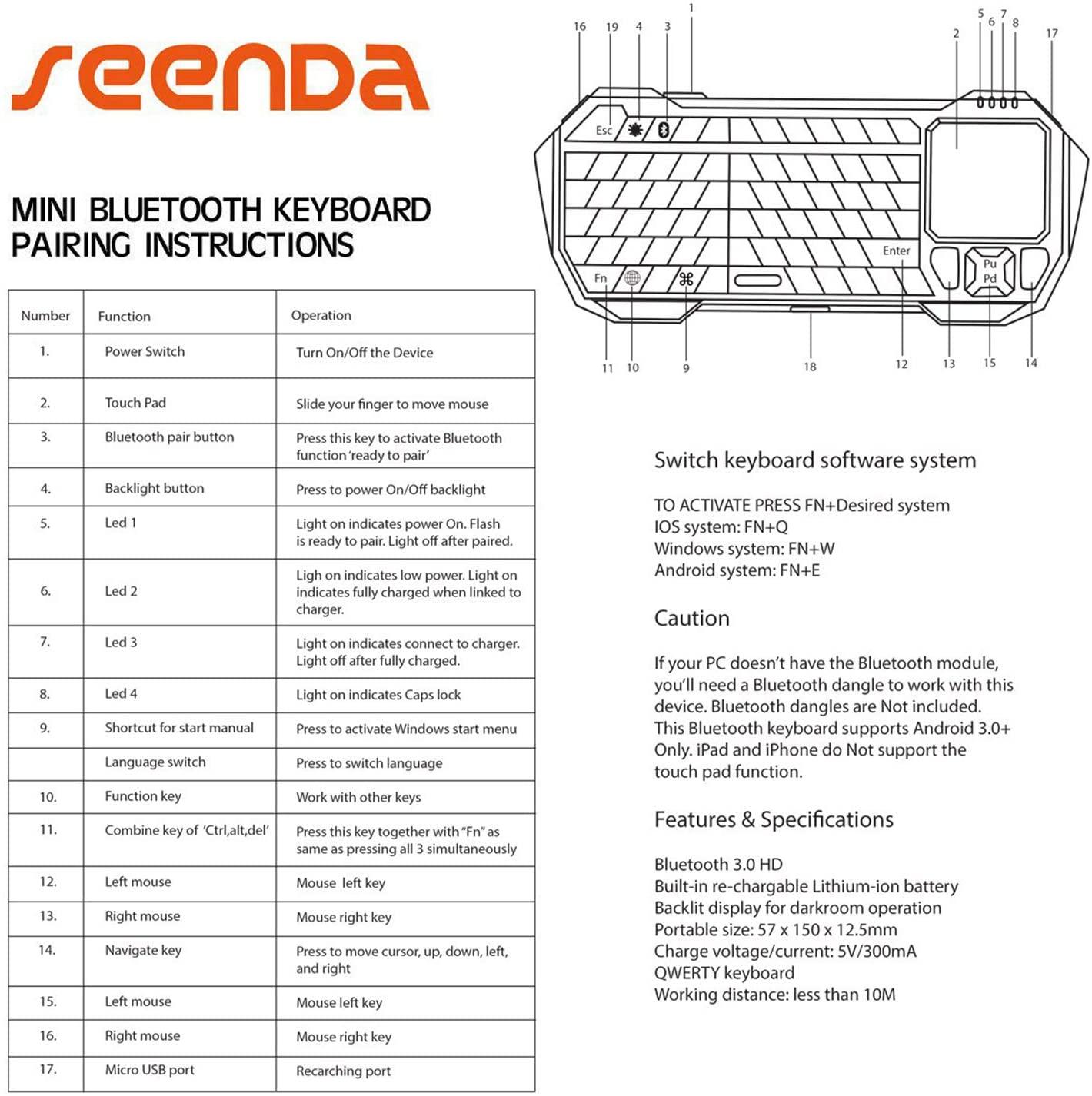Bàn Phím Không Dây Mini SEENDA IS11-BT05 Có Hỗ Trợ Touchpad - Hàng Chính Hãng