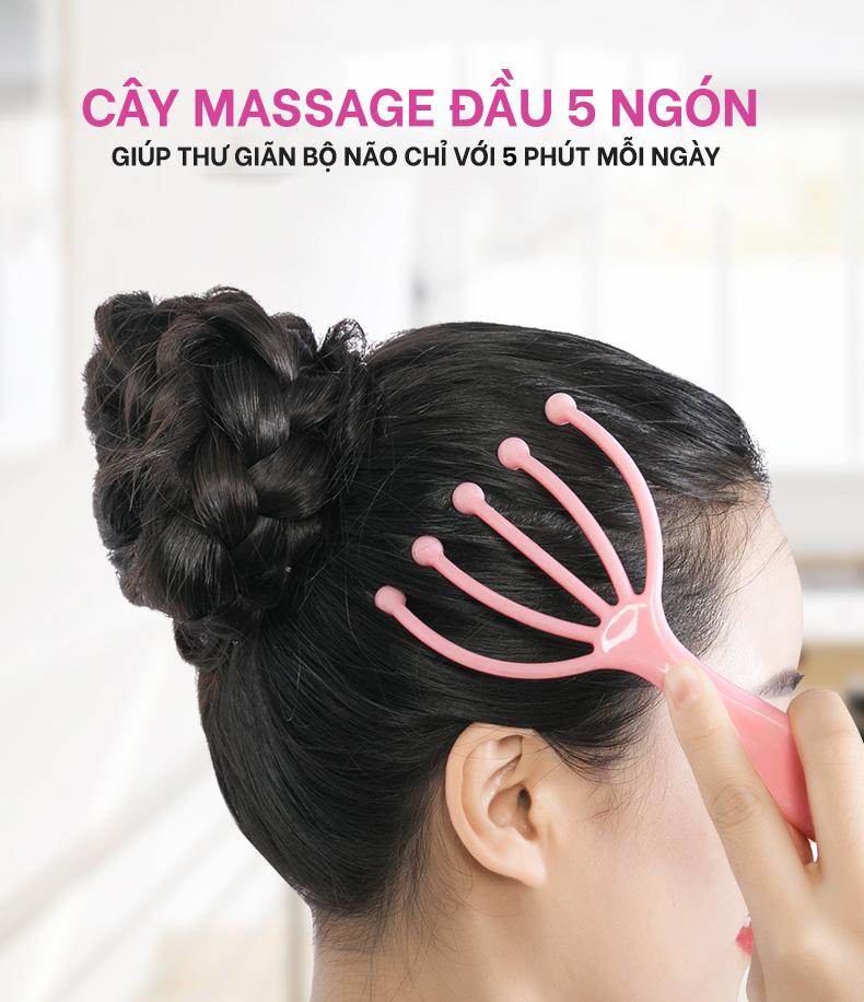 Dụng Cụ Massage Đầu 5 Ngón Bằng Thép, Giúp Thư Giãn Hiệu Quả, Dễ Dàng Sử Dụng -Giao Màu Ngẫu Nhiên