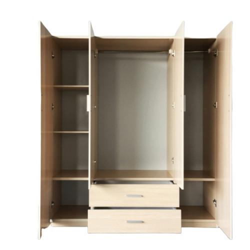 Tủ nhựa 4 cánh 2 ngăn kéo Jang Mi (màu tự nhiên)