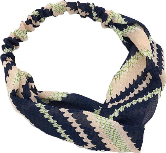 Băng đô nữ turban zizac phối 2 mầu xanh đen - nude dạng chun tròn TB34