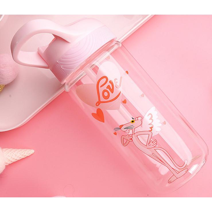Bình đựng nước thủy tinh Pink Panther Funny - 500ml (mẫu ngẫu nhiên)