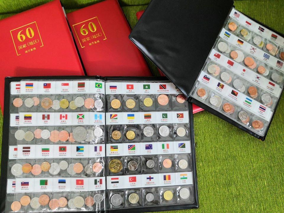 Bộ Tiền Xu 60 Quốc Gia 60 Đồng Xu, tặng kèm album, chú thích cờ và tên quốc gia mỗi xu - The Merrick Mint