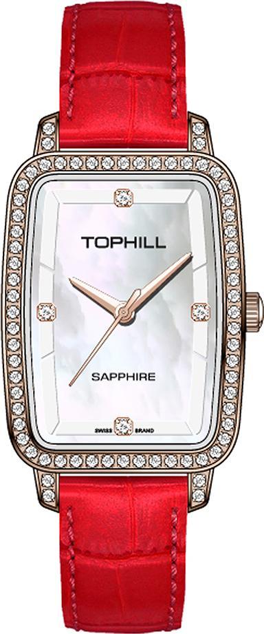Đồng hồ nữ mặt xà cừ vuông dây da và thép chính hãng Thụy sĩ TOPHILL TE051L.S3237