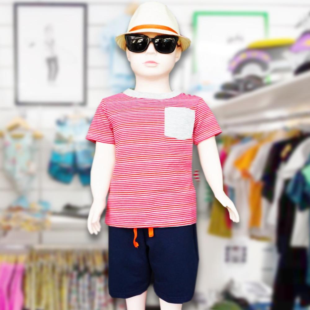Áo bé trai Sọc ngang xám đỏ có túi thương hiệu TAMOD