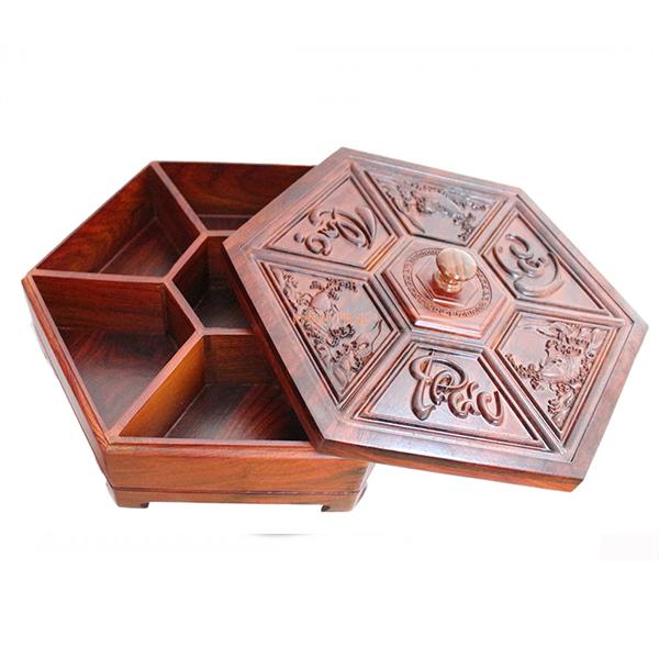 Hộp đựng bánh kẹo - hộp đựng mứt gỗ hương trạm Phúc Lộc Thọ phong thủy