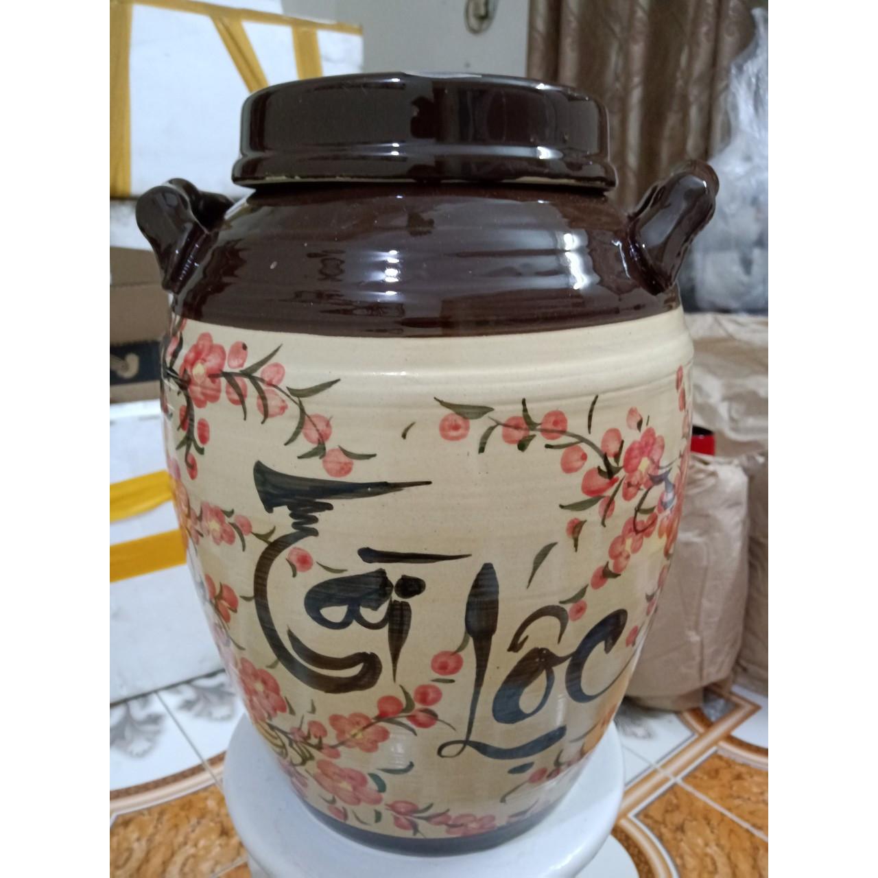 hũ đựng rượu gạo vẽ hoa đào Bát Tràng nắp bằng loại 25L ( đựng 20Kg gạo )