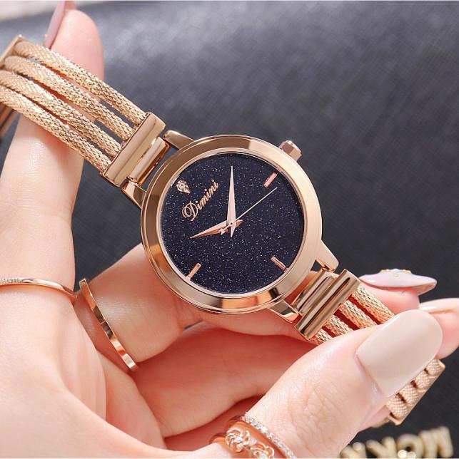 Đồng hồ nữ dây thép mặt đá Sapphire Dimini D5266 chống nước chống xước sang trọng cao cấp - Vàng