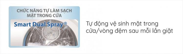Máy giặt sấy AQUA AQD-DH1050C N, giặt 10.5kg, sấy 7kg,Invertercó Chức năng Smart Dual Spray