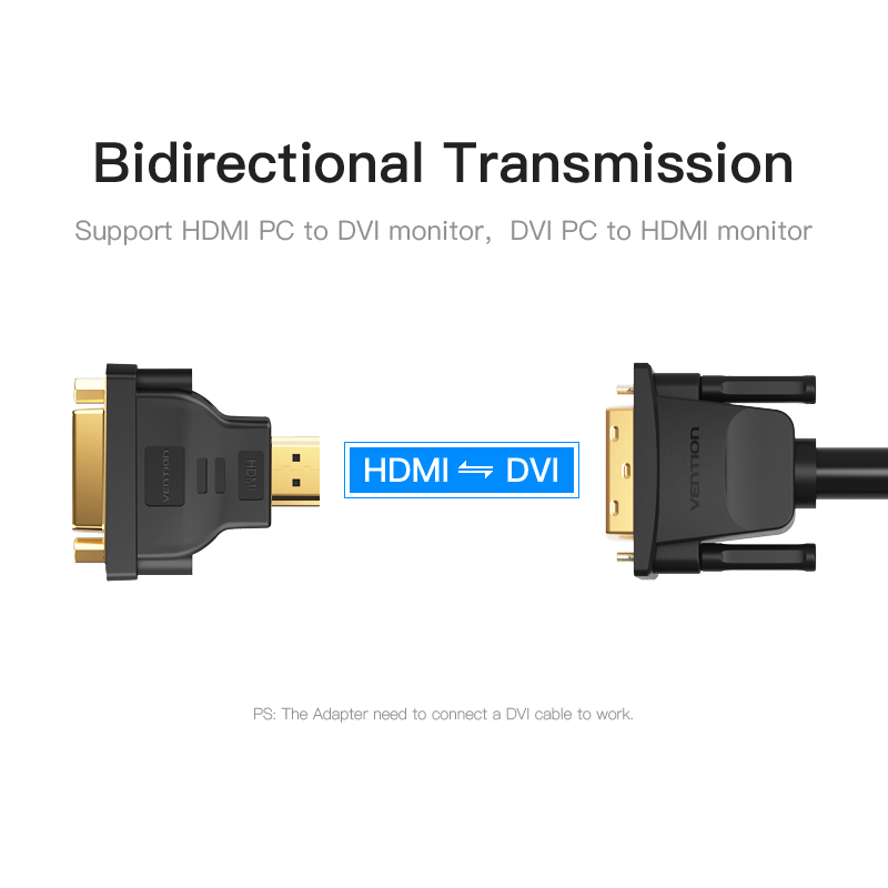Đầu chuyển đổi HDMI to DVI Vention (và ngược lại) ECCB0 - Hàng Chính Hãng