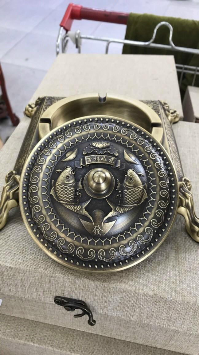 Gạt tàn vuông Vip - Gạt tàn đồng cao cấp (kt10x20cm)