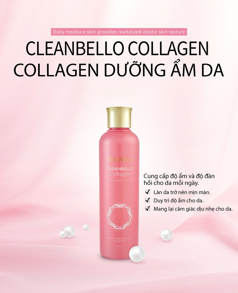 Tinh chất dưỡng ẩm da Deoproce Cleanbello Collagen Essential Moisture Skin 260ml