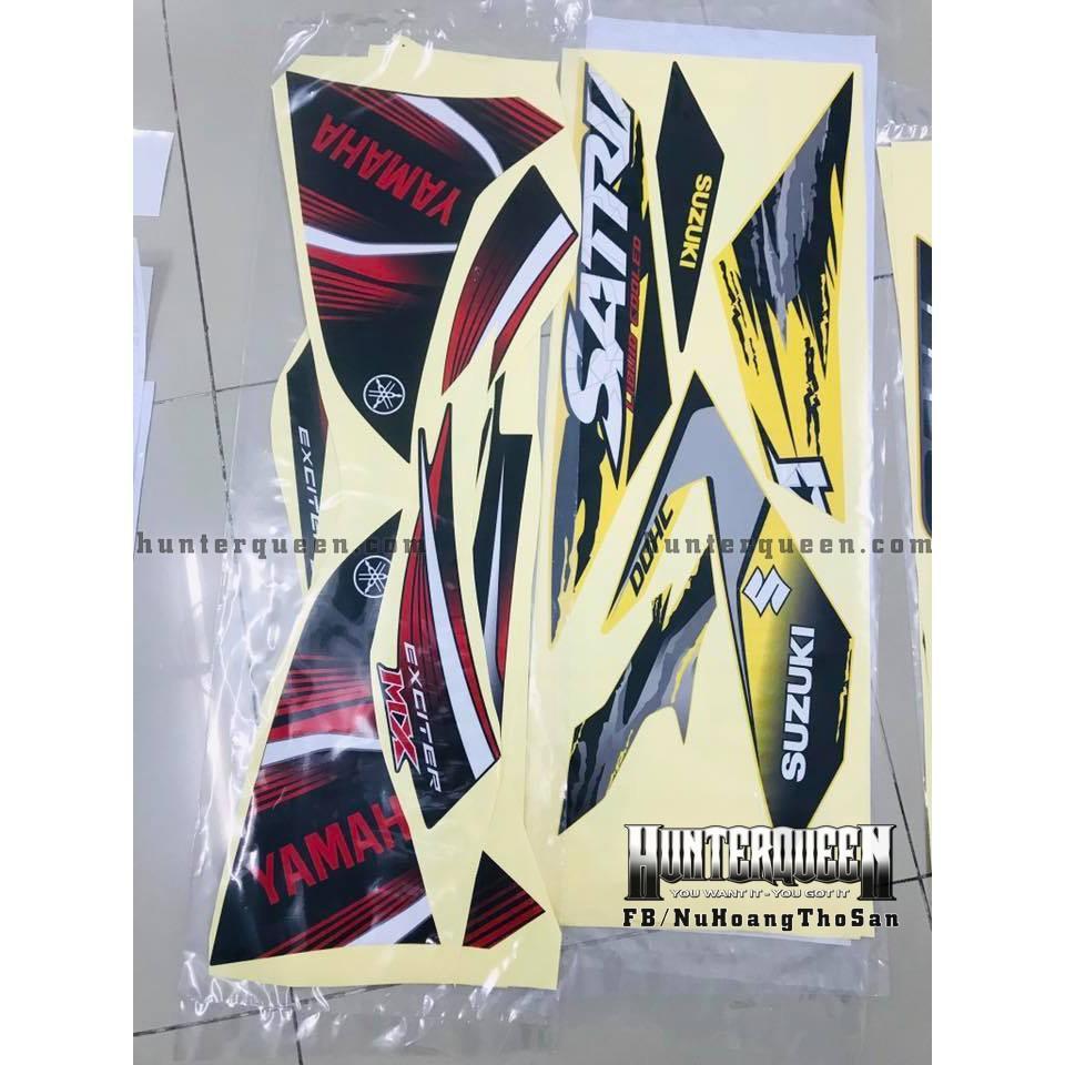 Tem uv ép nhiệt dành cho xe máy EXCITER 2011, ĐỎ ĐEN (bộ)