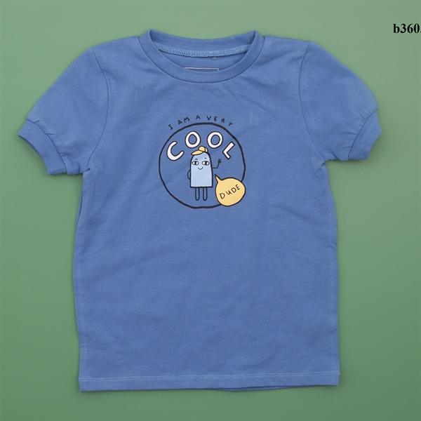 Áo thun cộc tay màu xanh họa tiết kem cho bé