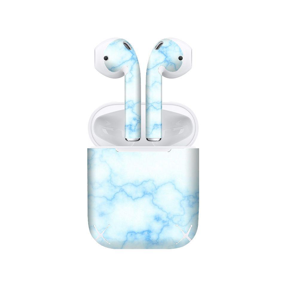 Miếng dán skin chống bẩn cho tai nghe AirPods in hình Đá xanh - dah001 (bản không dây 1 và 2)