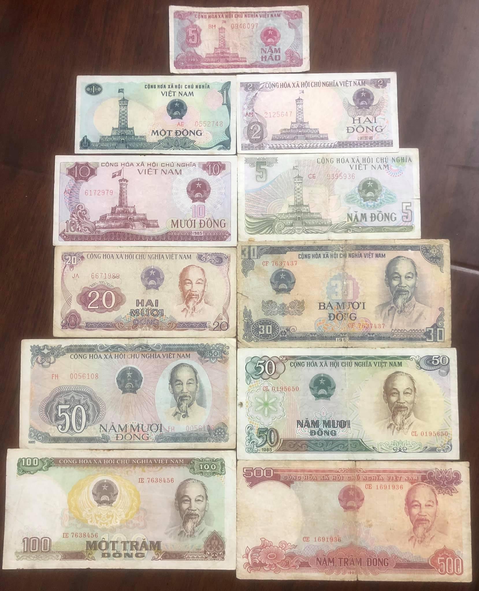 Bộ tiền xưa bao cấp 1985 đầy đủ 11 tờ sưu tầm
