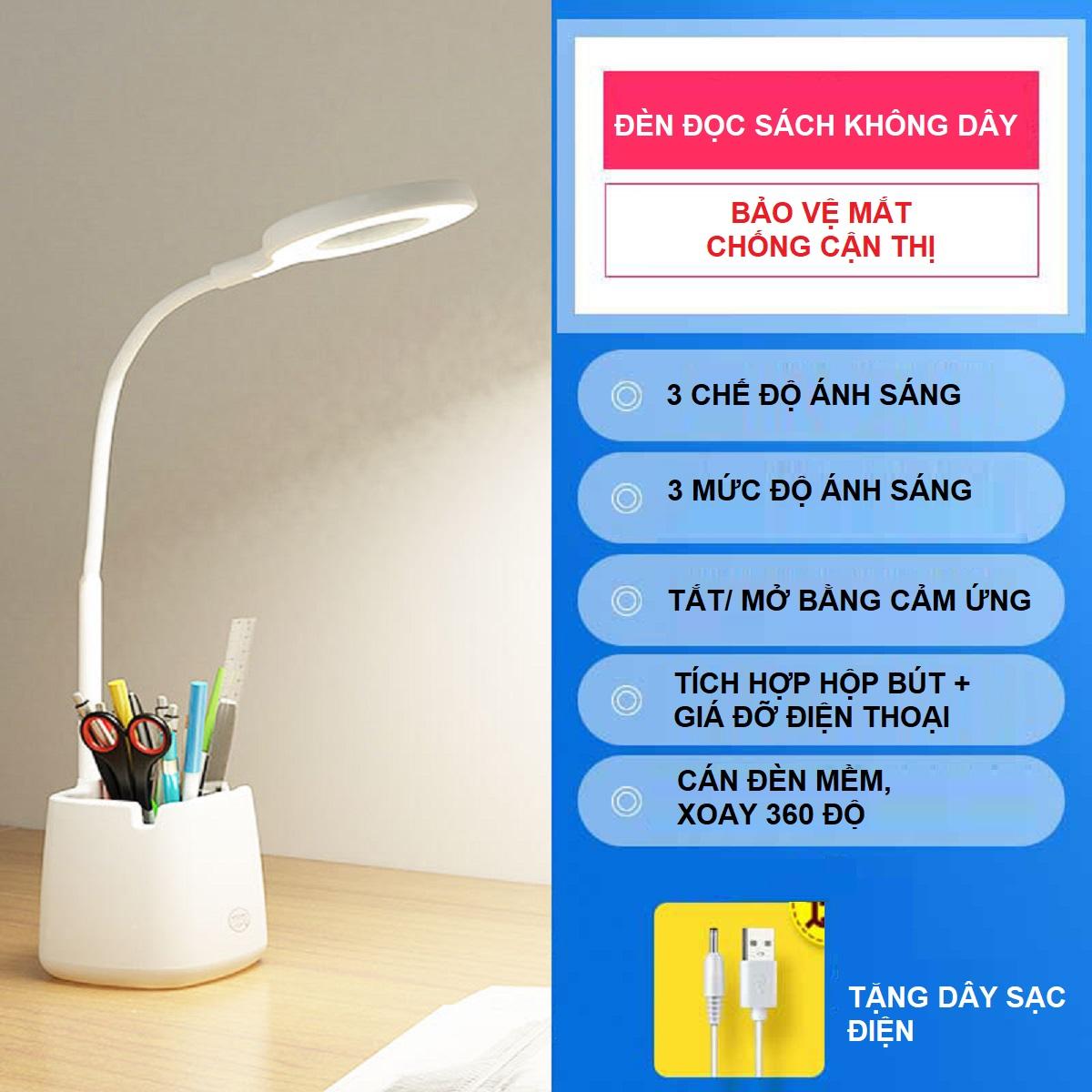 Đèn Bàn Học Đọc Sách LED Chống Cận 03 Chế Độ Ánh Sáng Vàng Bảo Vệ Mắt