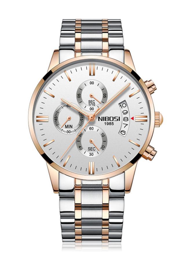 Đồng hồ nam Nibosi dây thép đúc lịch ngày JS-2309S