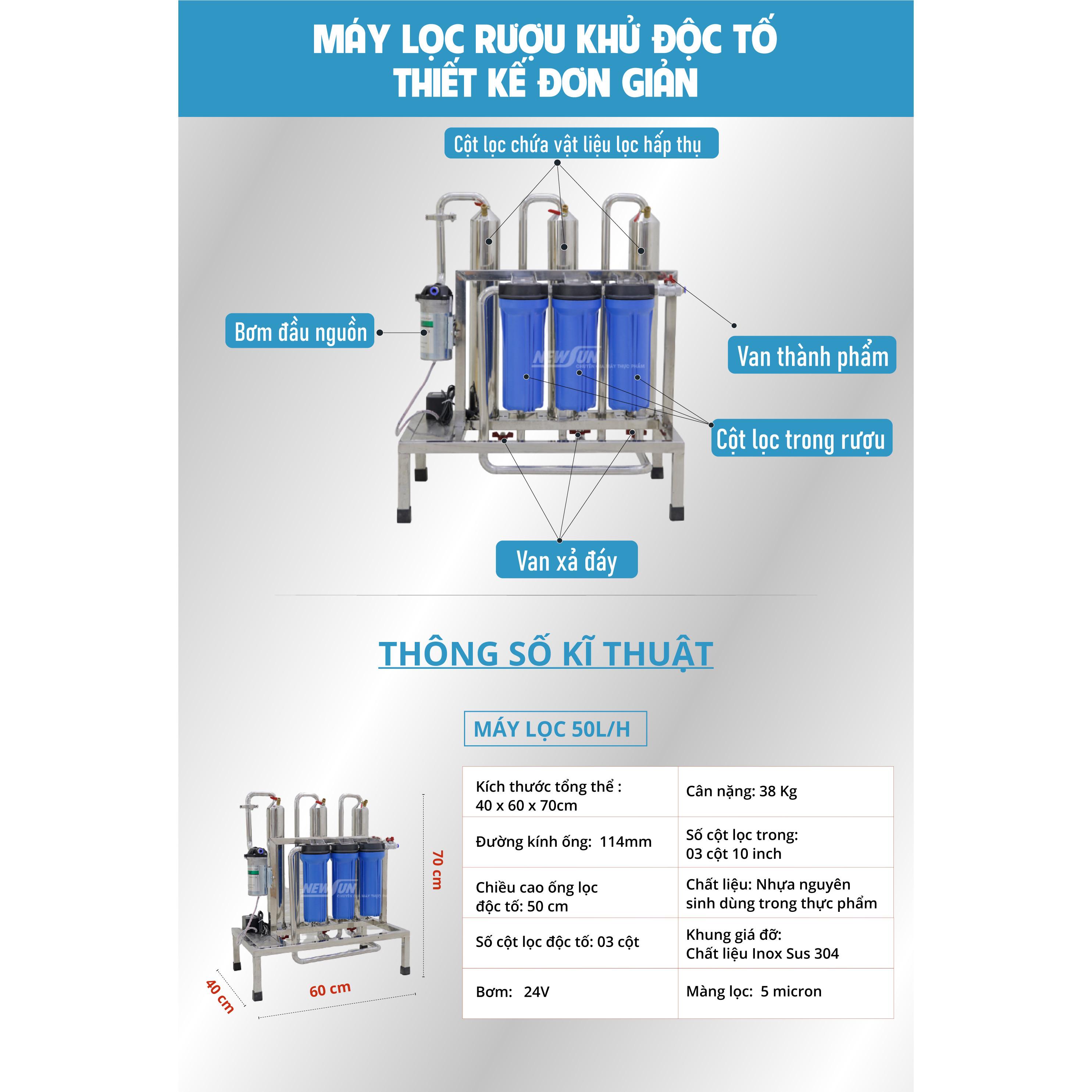 Máy lọc và khử độc tố methanol NEWSUN 50L/h lọc nhanh, thơm, ngon - Hàng chính hãng