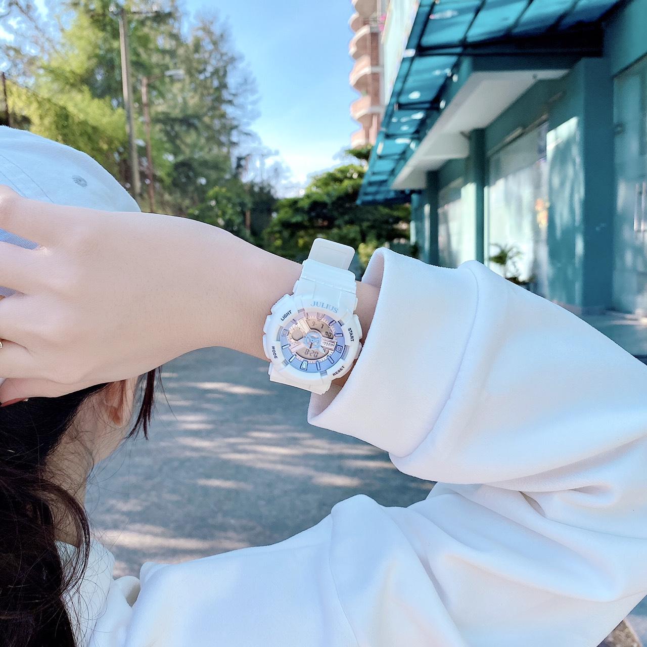 Đồng Hồ Nữ Julius Hàn Quốc JA1276 Phiên Bản Thể Thao Cá Tính, Có Lịch, Đếm Giờ, Báo Thức, Đèn LED