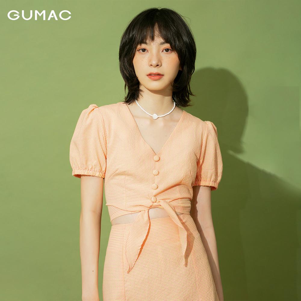 Áo nữ caro thắt eo GUMAC AB1175
