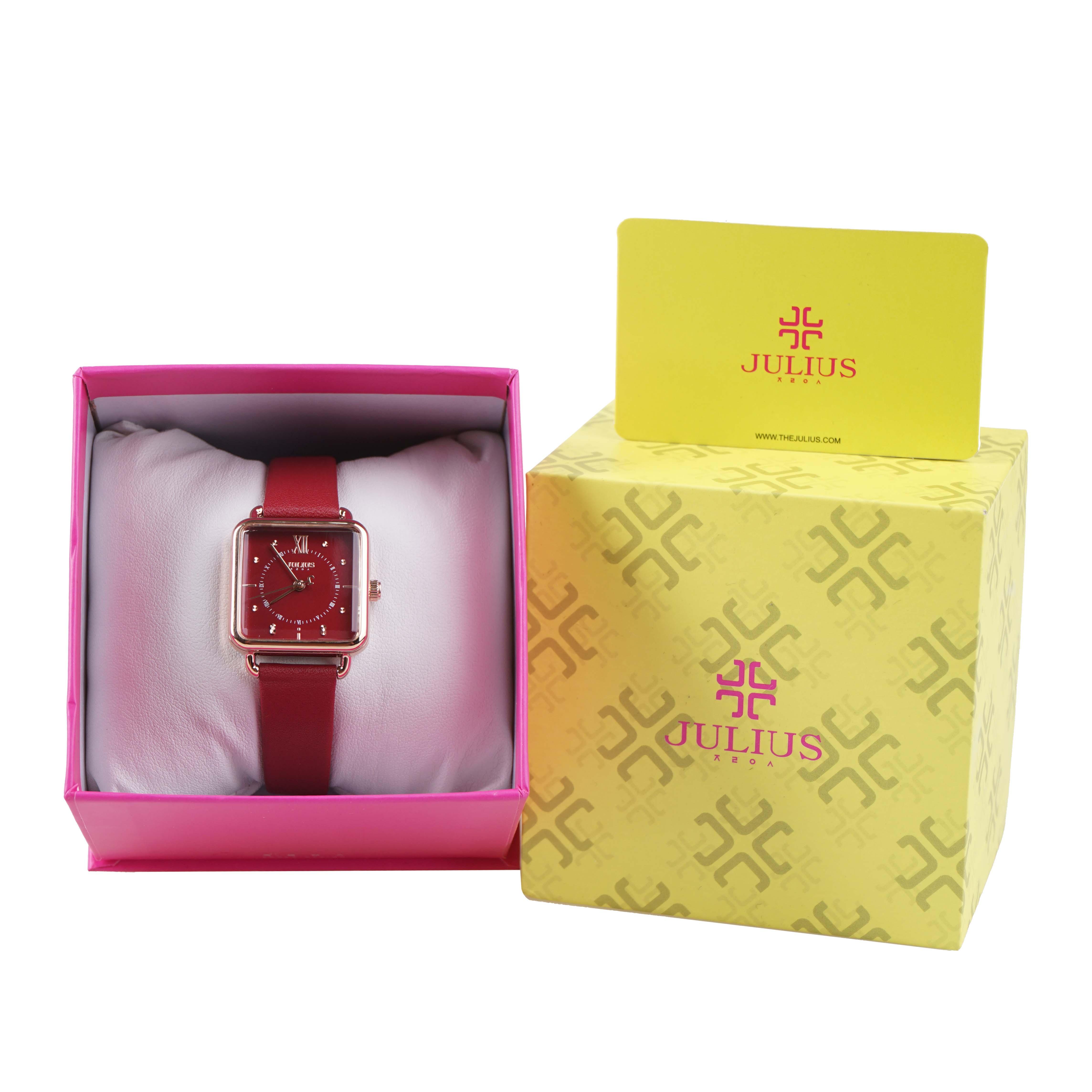 Đồng Hồ Nữ Julius Hàn Quốc JA1123 Mặt Vuông Dây Da Đỏ