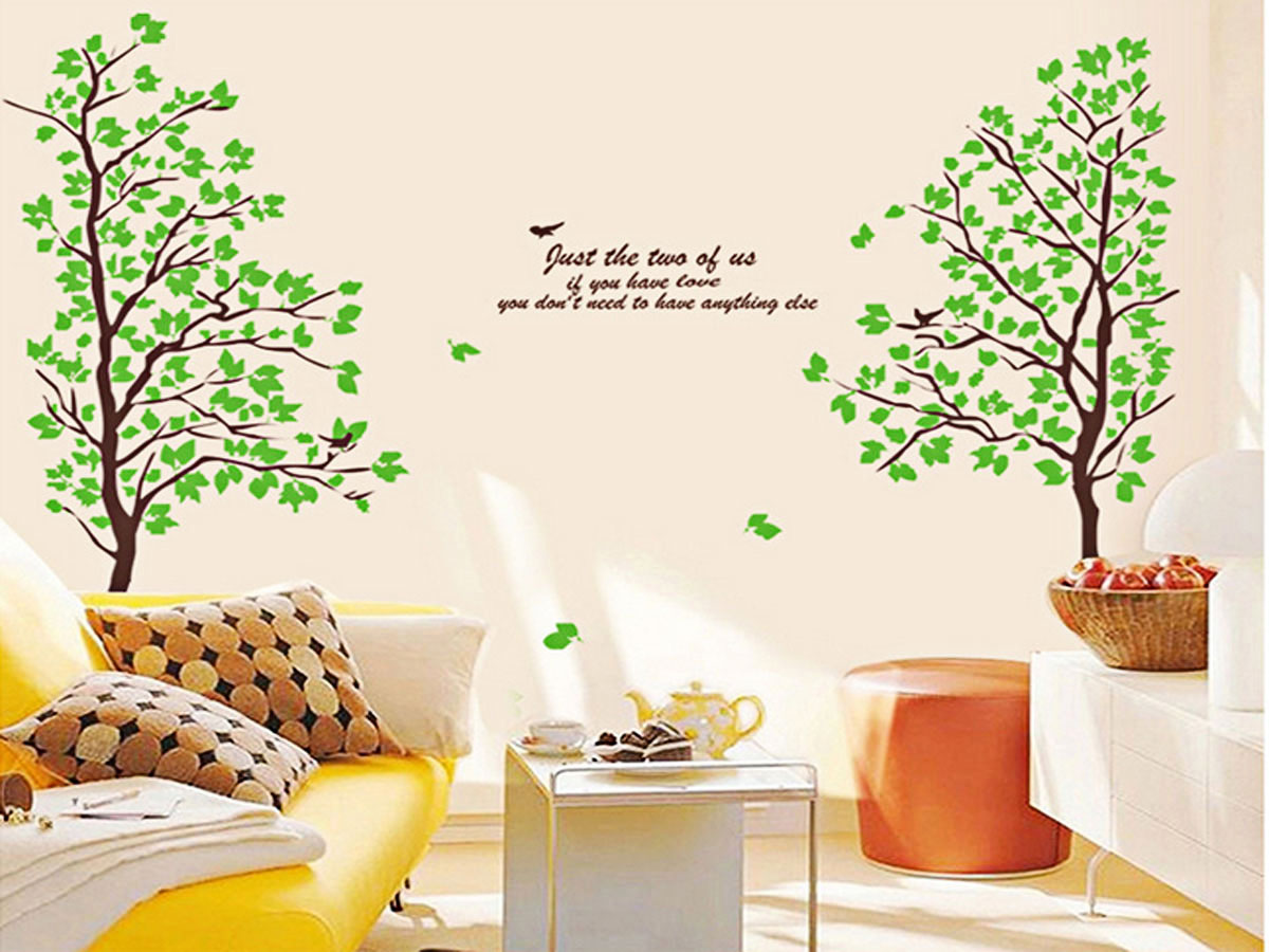 Decal dán tường trang trí phòng khách- Cây xanh mùa xuân- mã sp  AY698