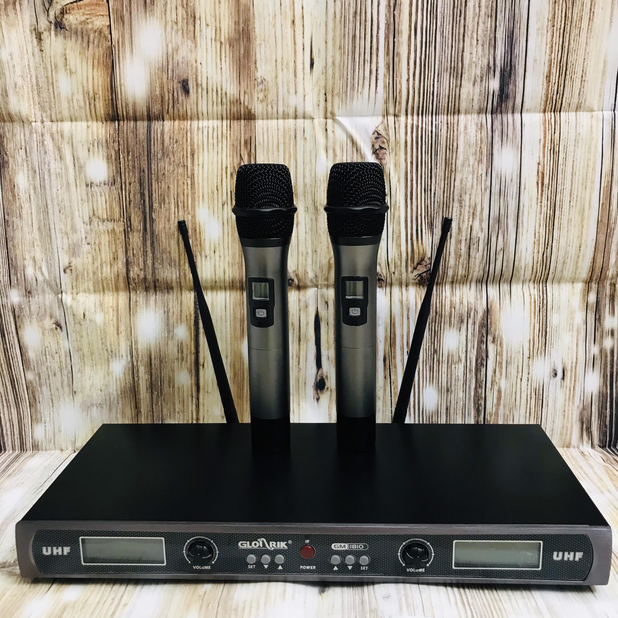 Bộ Mic không dây UHF cao cấp Glosrik GM-1810 - UHF Wireless Microphone Glosrik GM-1810 ( Gồm 2 Mic cầm tay, Đầu thu, Nguồn AC, 2 cặp Pin AA 1.5V ) – Hàng chính hãng