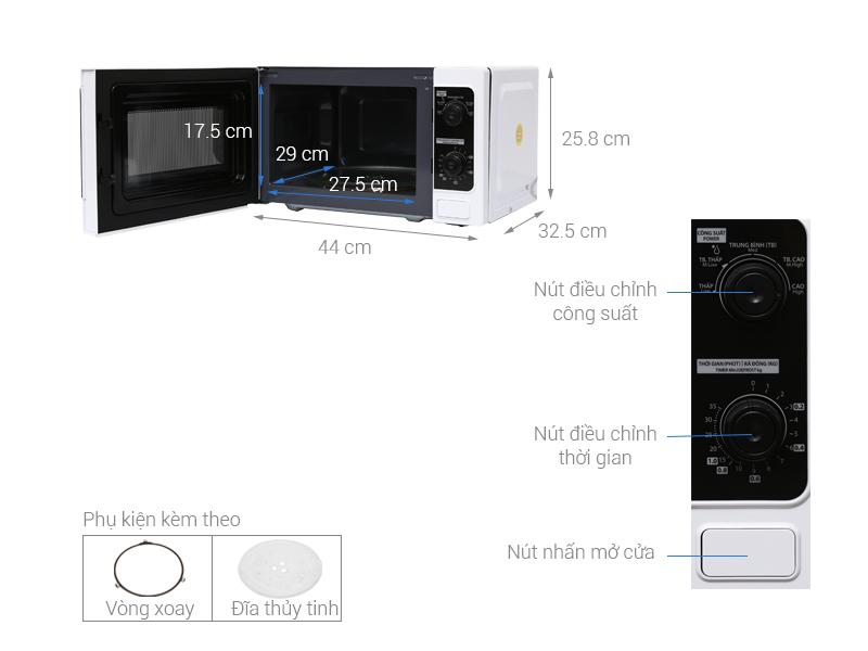 Lò vi sóng 20 lít Toshiba Thái Lan ER-SM20W1VN hàng chính hãng