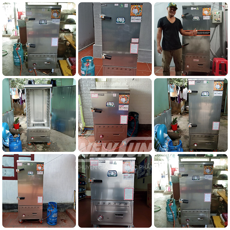 Tủ Nấu Cơm 18 Kg Gạo/ Mẻ Bằng Điện Gas 6 Khay Nhập Khẩu NEWSUN - Hàng Chính Hãng