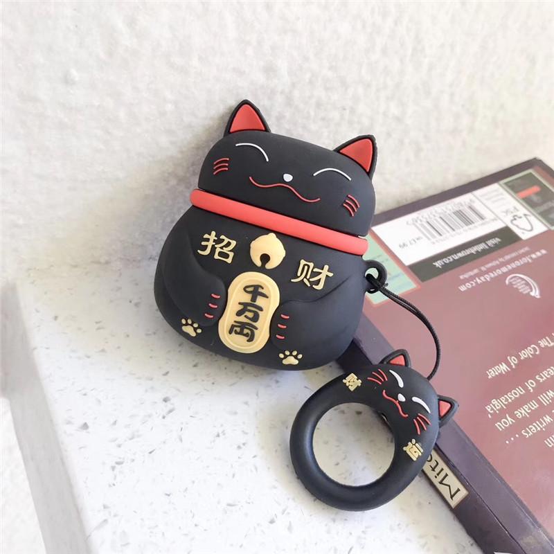 Hộp Để Tai Nghe AirPod Mèo Thần Tài May Mắn - Tặng 1 móc chìa khóa