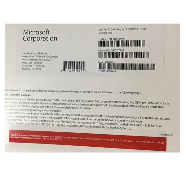 Phần mềm Windows 10 Pro 64bit 1pk DSP OEI DVD (FQC-08929) - Hàng chính hãng
